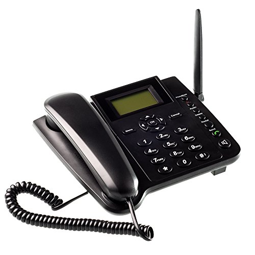 Lychee Wireless GSM Desk Phone QuadBand SIM Card Mobile Home Office Desktop Telephone ()
