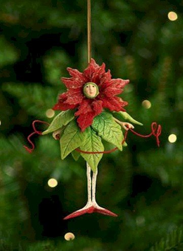 Patience Brewster Poinsettia Girl Figural Ornament 08-30385