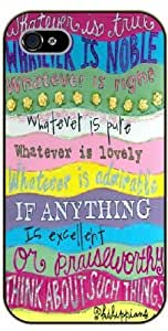 iPhone 5 / 5s Bible Verse - Whatever is true, whatever is noble, whatever is right, whatever is pure, whatever is lovely. Philippians 4:8 - black plastic case / Verses, Inspirational and Motivational