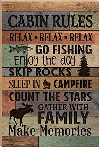 MarthaFox 30×20cm Cabin Rules Make Memories Fish Moose Handmade Wood Signs with Quotes Home Plaque Home Craft Sign for Women Men Housewarming Gift CB 671313 ()
