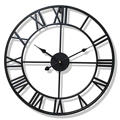 SHIJIAN Large Metal Roman Numeral Wall Clock - Silent Non-Ticking Decorative Wall Clock for Cafe Loft Hotel Bar Office Living Room Bedroom Kitchen (Color : A, Size : D:47cm) ()