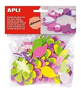 APLI - Bolsa formas EVA adhesiva purpurina formas flor, 48 uds