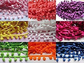 YCRAFT One Roll 16 Yards Ball Fringe 5//8 Wide Pom Pom Trim Ribbon Sewing-Bright Yellow