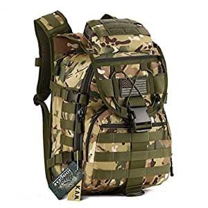 IDOGEAR 40L Tactical Backpack Molle Assault Pack 900D Nylon Water Resistant Military Army Shoulder Bag Travelling Climbing Airsoft School Hiking Bug Out Backpacks (C: MultiCam)
