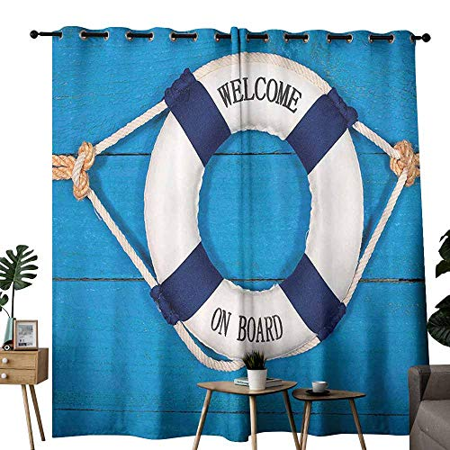 duommhome Buoy Decor Bathroom Curtain Welcome On Board Sign On Painted Timber Wall Life Buoy Tightened with Rope Beautiful and Elegant W72 xL84