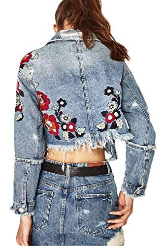 Jeans Giacca Corto Hipster Donna Manica Fiori Cappotto Lunga Chic Casual Fashion Blau Autunno Primaverile Con Colore Vintage Bello Outerwear Strappato Button Nappe Elegante Puro Tasche Cute Giacche Ricamo 66z50nqw