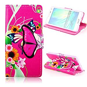 DD 20150511 Flower Butterfly Pattern PU Leather Full Body Case with Card Slot and Stand for Samsung Galaxy A5