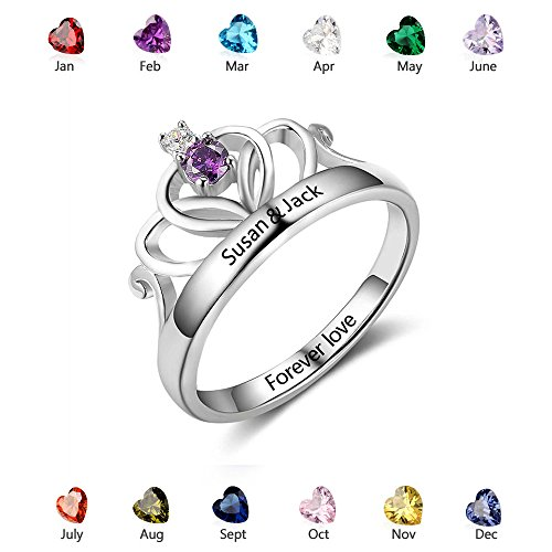 Personalized Princess Crown Rings - Simulate Birthstones Claddagh Name Rings - Silver Promise Rings (6)