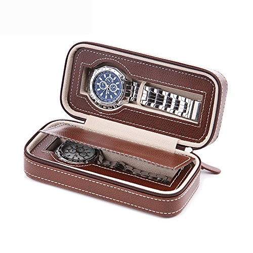 Aco&bebe House Black Zippered Watches Box Travel Case - Watch Organizer Collection - Top Grade Carbon Fibre PU Leather (Coffee-2 Slots) ()