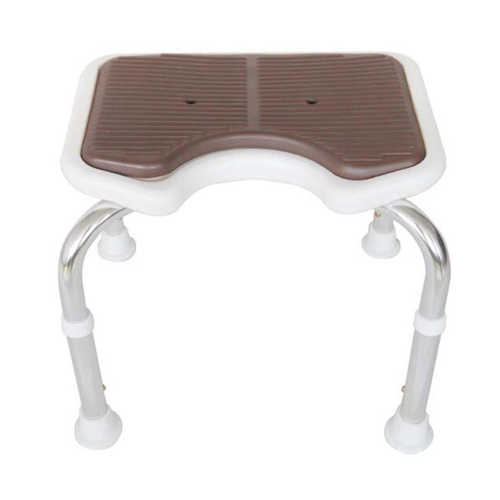 WSSF- シャワーチェア バスルームトイレバリアフリーオールドマンシャワーチェア高さ調整可能な妊娠中の女性滑り止め安全な水着、コーヒーカラー39.5 * 43.5 * 35-45センチメートル B07B7L3XNP