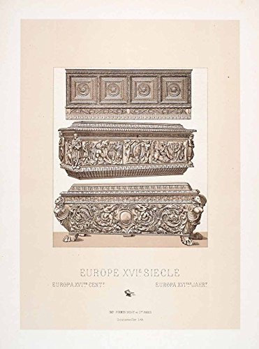 1888-chromolithograph-hope-chest-16th-century-woodwork-furniture-carved-historic-original-chromolith