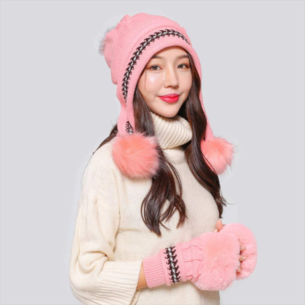 Knitted Winter Beanie Hat Winter Hat Female Thickerplush Warm Slouchy Ski Caps Knitted Wool Hat Earmuffs Hat,D