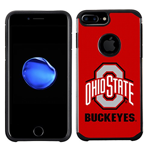Prime Brands Group Textured Team Color Cell Phone Case for Apple iPhone 8 Plus/7 Plus/6S Plus/6 Plus - NCAA Licensed Ohio State University Buckeyes (State Phone Cell Case)