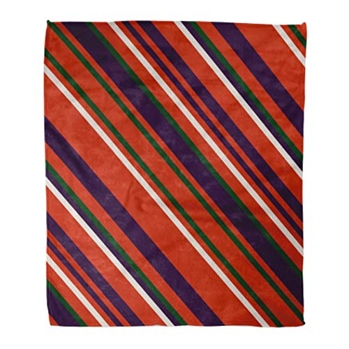 (Emvency Decorative Throw Blanket 60 x 80 Inches Christmas Traditional Colors Straight Diagonal Thin Line Abstract Striped Warm Flannel Soft Blanket for Couch Sofa Bed)