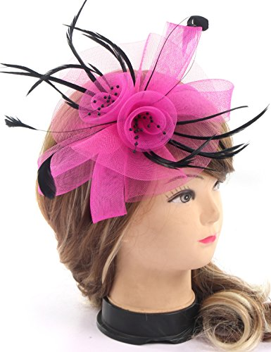 Fascinators Flower Feathers on Headband Tea Party Wedding Hat Bow Headwear for Girls and Women(Rose -