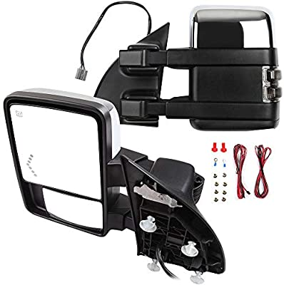 SCITOO Towing Mirrors fit Ford High Perfitmance Automotive Exterior Mirrors fit 1999-2007 F250 F350 F450 F550 Super Duty with Amber Turn Signal Power Adjusted Heated Manual Telescoping Features