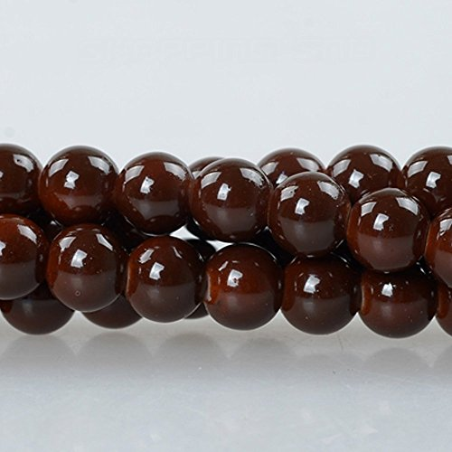 (RUBYCA 2 Strings Round Opaque Coated Loose Glass Beads for Jewelry Making Beading DIY 10mm Brown )