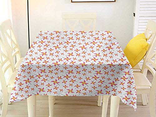 L'sWOW Outdoor Round Tablecloth Square Pinwheel Fun Times with Pinwheels Childish Toys Playing Wind Happines Nursery Yellow Pink and Grey Color 54 x 54 ()