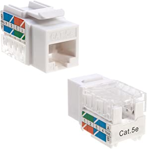 Cat5e Ethernet RJ-45 Keystone Jack Cat5 Punch-Down Network White - Choose a Pack of 5/10/20/30/50 (10)
