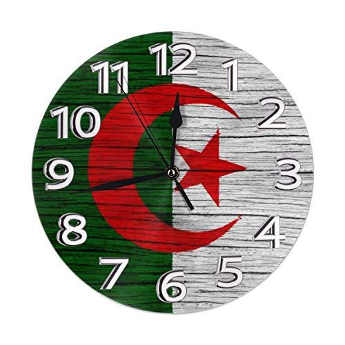 Wooden Texture Algerian Flag Family Decorations Clock Mounted for Girl Boy Kids Bedroom Living Bed Dinning Room Dorm Wall Desk Home Art Decor Frameless Non Ticking