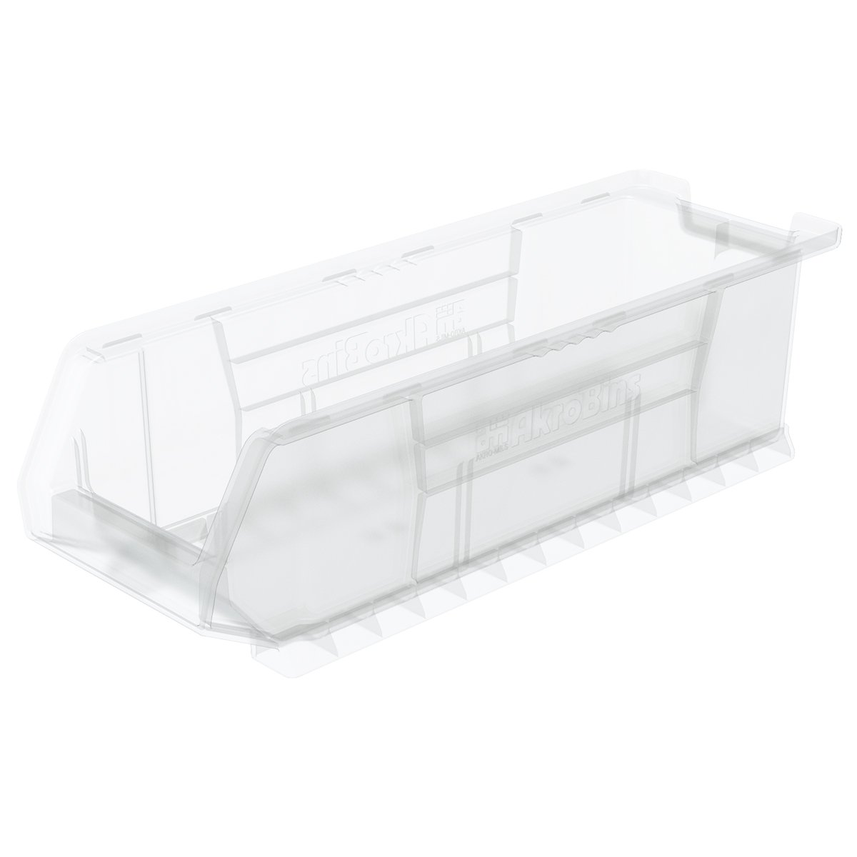 Akro-Mils 30284 24-Inch D by 8-Inch W by 7-Inch H Clear Super Size Plastic Stacking Storage AkroBin, 4-Pack