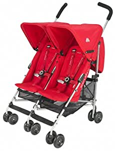 Maclaren Twin Triumph Stroller, Scarlet and Silver (Discontinued by Manufacturer)
