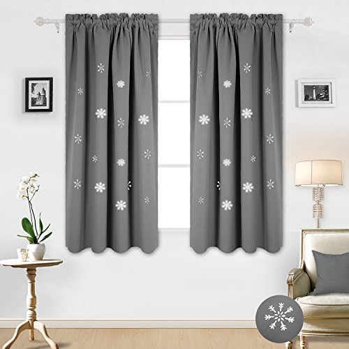 (Deconovo Rod Pocket Hollow Cut Snowflake Thermal Insulated Drapes Blackout Curtains for Kids Room 52W x 63L Inch Light Grey 2 Panels)