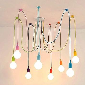 BINJG Vintage Nordic Araignée Pendentif Lampe Multiple Réglable ...