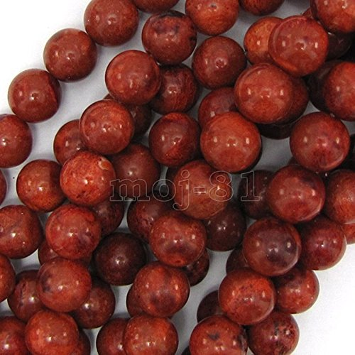 10mm Natural Red Sponge Coral Round Gemstone Loose Beads 15