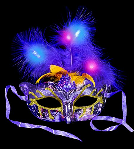 Lumistick Light-Up Masquerade Feather Mask (1 piece)