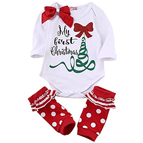 Newborn Baby Boys Girls My First Christmas Rompers Tops Red Leg Warmer Outfit (0-3M)
