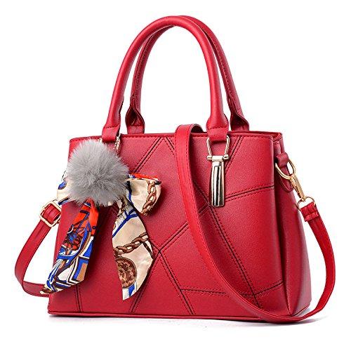 RENHONG Bolso De Hombro De Cuero De PU Para Mujer Bolso De Mensajero Negro Rojo Azul Blanco,Red-31*13*21cm Red