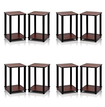 Set of 2 Furinno 2-99800RDC Turn-N-Tube End Table Corner Shelves Dark Cherry//Black