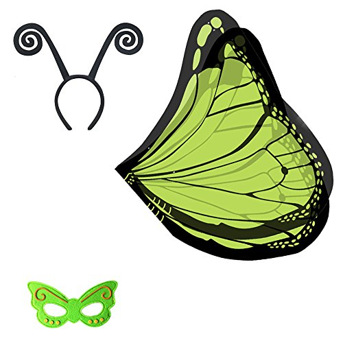 Butterfly Costumes For Babies (Baby Song Butterfly Wings Costume with Headband&Mask Green Butterfly Wings for Girls WD-3)