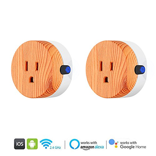 Wood Hub (WiFi Smart Plug, Wireless Mini Wood-like Plug, APP And Voice Control Your Appliances Anywhere with Alexa Echo/Google Home/IFTTT, Timing Function, No Hub Required Smart Socket(2 pack))