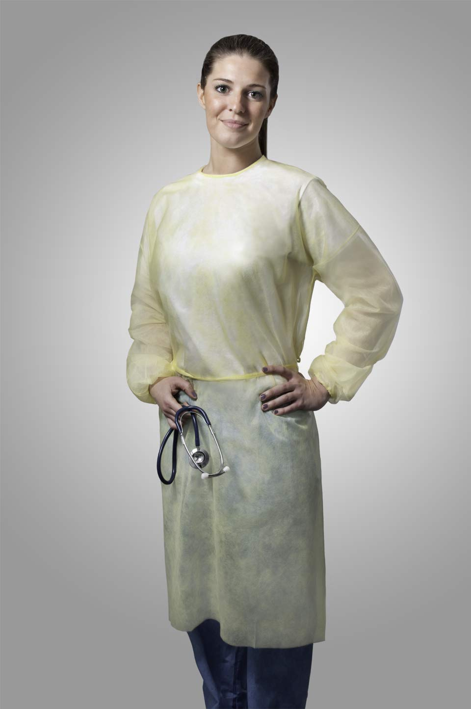 Tronex Fluid-Resistant Spunbond Isolation Gowns with Elastic Cuffs, X-Large, Soft Yellow (50) by TRONEX (Image #1)