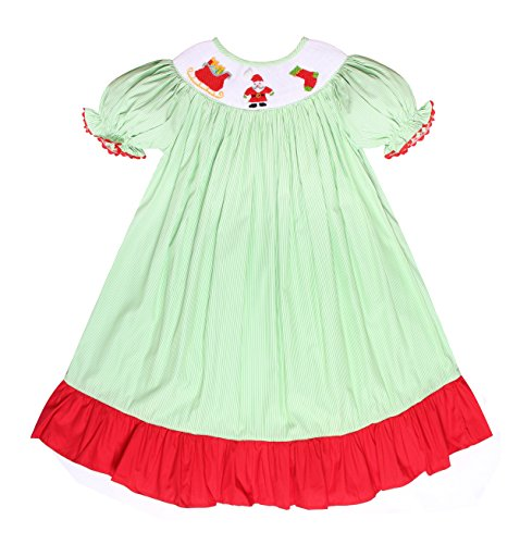 Babeeni Christmas Girl Dress Featured With Smocked Patterns Of Santa Claus and Stocking In Bishop Style (6Y) (Smocked Dresses Christmas Newborn)