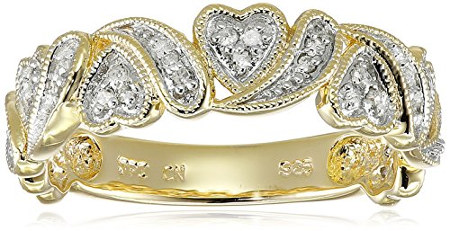 Yellow Gold Plated Sterling Silver Multi Hearts Diamond Band (1/10 cttw, I-J Color, I2-I3 Clarity), Size 6 -