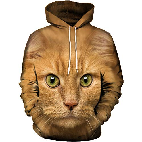 Realdo Unisex 3D Cat Print T-Shirt Long Sleeve Tops Tee Sweatshirt ()