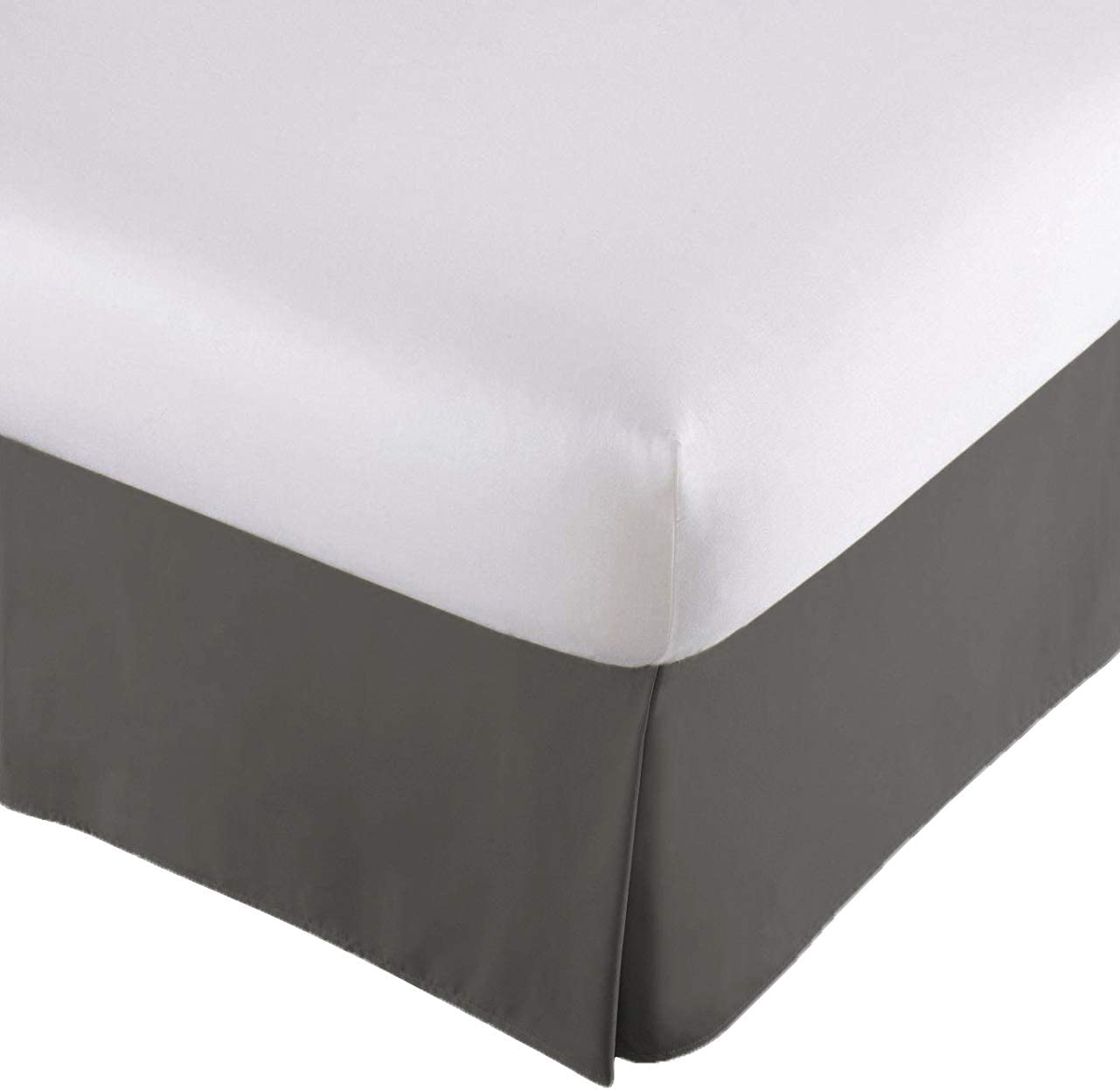 Lux Decor Collection Queen Size Bed Skirt - Durable Long Staple Micro Fiber - 14 Inch Drop, Easy On/Easy Off - Comfortable & Abrasion Resistant - Quadruple Pleated (Queen,Grey)