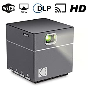 Kodak Wireless WiFi Portable Projector - DLP Pico LED 1080p HD Mini Projector - Supports Android Miracast, iOS Apple Airplay Phones and Devices - Rechargeable with Speakers - HDMI and Micro SD Card
