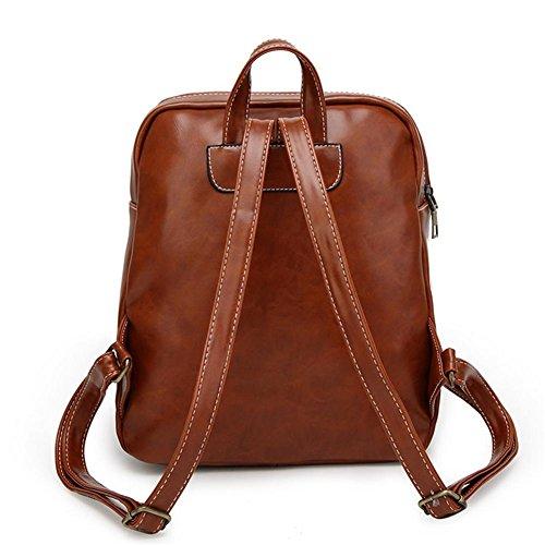 TT Hombres y mujeres de la bolsa de hombro casual PU cuero retro mochila de viaje