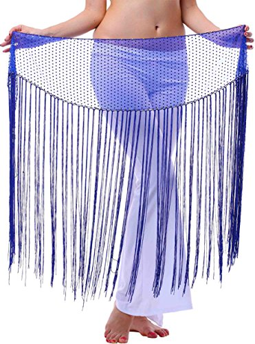Long Hip Scarf for Show or Dress up with Siny Bling Ending and Fringes Royal Blue XS S M (Nice Cheap Halloween Costumes)