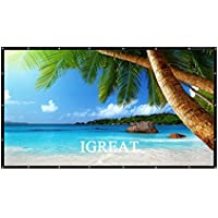 100 Inch portable Projector Screen Foldable Material: PVC 16:9 Easy to Clean HD Projection Screens Suitable for KTV, meeting rooms and outdoor leisure, open-air movies by IGREAT