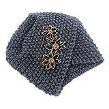 Qhome Ladies Winter Warm Turban Soft Knit Headband Beanie Crochet Headwrap Women Hat Cap with Beaded Jewelry