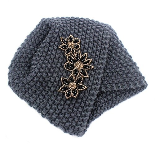 Qhome Ladies Winter Warm Turban Soft Knit Headband Beanie Crochet Headwrap Women Hat Cap with Beaded Jewelry by Qhome cap (Image #4)