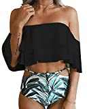MOONOO Women Generous Sexy Fashion Beach Floral Print Flounce Two Piece Swimsuit High Waist Ruffled Bikini
