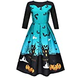 OWMEOT Women's Halloween Scary Bat Pumpkin Spider Smock Skater Swing Dress (Blue, S)