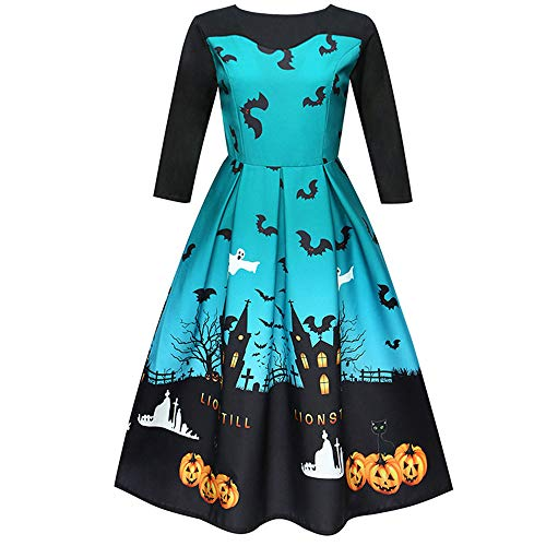Halloween Costumes for Women, Pervobs Women Pumpkin Castle Printing 3/4 Sleeve Party Swing Dress Halloween Costumes(12, Blue 1) -
