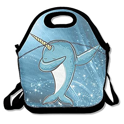 Kawaii Dabbing Narwhal Outdoor Lunch Bag Lunch Box Thermal Insulated Tote Cooler Lunch Pouch Picnic Bag Lunch Tote, For School Work Office,gift For Women